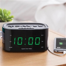 Usb Charger Clock Radio Black