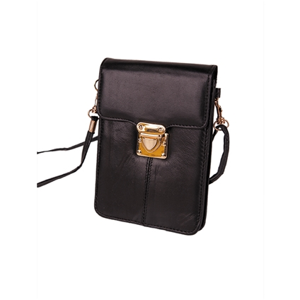 Leather Phone Bag - Black